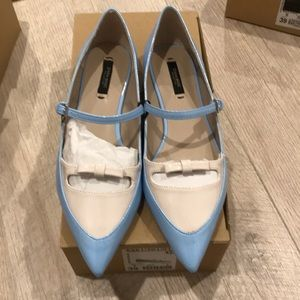 Zara flats in light blue size 8 or 39euro, new